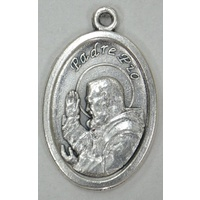 PADRE PIO Medal Pendant, SILVER TONE, 22mm X 15mm, MADE IN ITALY