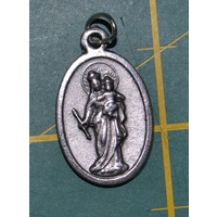 SAINT JOHN BOSCO, OUR LADY HELP OF CHRISTIANS Medal Pendant, SILVER TONE, 22mm X 15mm