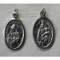 SCAPULAR Medal Pendant, Oval 22 x 15mm, Silver Tone Aluminium, Quality Made In Italy