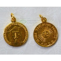 HOLY FACE Medal Pendant, Gold Tone, 18mm Diameter, Made in Italy