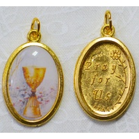 First Holy Communion Picture Medal Pendant, Gold Tone, 20 x 15mm, Made in Italy