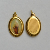 AUSILATRICE Picture Medal Pendant, 23x18mm Gold Tone, Made In Italy Quality