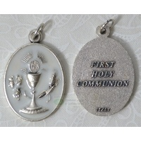 Communion Medal Pendant, Silver Tone, White Enamelled, Medal is 21mm x 28mm