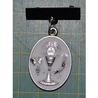 Communion Medal With Bar, Silver Tone, White Enamelled, 21mm x 28mm