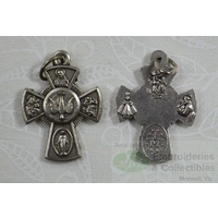 Confirmation Medal Cross Pendant, Silver Tone, 23x18mm, MADE IN ITALY