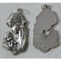 Madonna Silver Tone Medal Pendant 32 x 20mm, Made in Italy