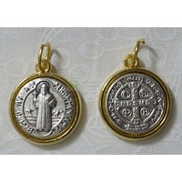 St Benedict 2 Tone Medal Pendant 14mm, Made in Italy
