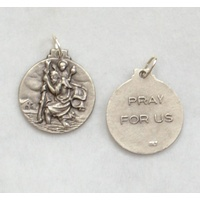 St Christopher Medallion Pendant, 20mm Silver Tone, Made In Italy Quality