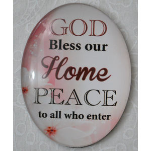 Magnet, 54 x 44mm Glass, GOD Bless Our Home