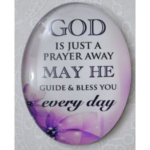 Magnet, 54 x 44mm Glass, God Just A Prayer Away