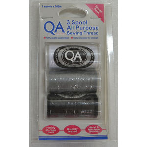 QA Thread 3 Spool x 500m All Purpose Sewing Thread BLACK, WHITE, GREY