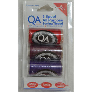 QA Thread 3 Spool x 500m Pack of All Purpose Sewing Thread RED, BURGUNDY, PURPLE