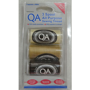 QA Thread 3 Spool x 500m Pack of All Purpose Sewing Thread, NATURAL, FAWN, DARK BROWN