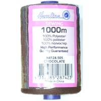 Hemline 100% Polyester Sewing & Overlocking Thread 1000m Spool, CHOCOLATE
