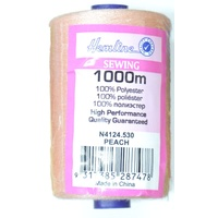 Hemline 100% Polyester Sewing & Overlocking Thread 1000m Spool, PEACH