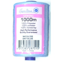 Hemline 100% Polyester Sewing & Overlocking Thread 1000m Spool, SKY BLUE