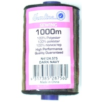 Hemline 100% Polyester Sewing & Overlocking Thread 1000m Spool, DARK NAVY