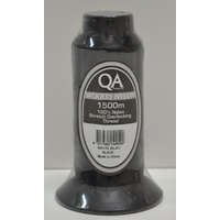 QA Woolly Nylon 1500m Cone BLACK, 100% Nylon Stretch Overlocking Thread, Serger Thread