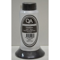 QA Woolly Nylon 1500m Cone, WHITE, 100% Nylon Stretch Overlocking Thread, Serger Thread