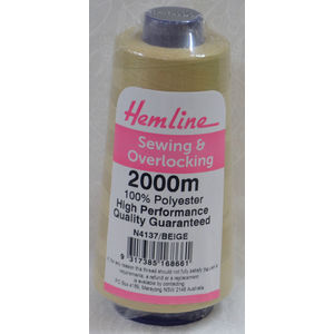 HEMLINE (QA) Overlocker & Sewing Thread 2000m, BEIGE, 100% Polyester