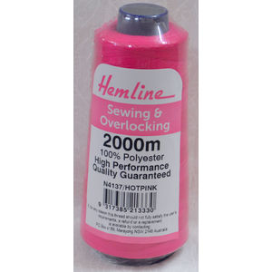 HEMLINE (QA) Overlocker & Sewing Thread 2000m, HOT PINK, 100% Polyester