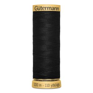 Gutermann 100% Cotton, Colour 5201 BLACK, Per 100m Spool