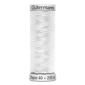 Gutermann SULKY Rayon 40 Embroidery Thread, 200m Spool, Colour 1001 WHITE