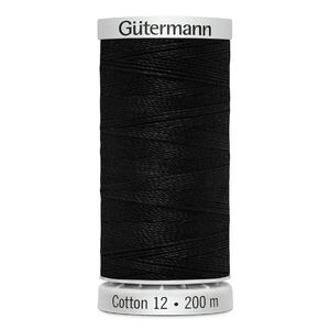Gutermann Sulky Cotton 12, #1005 BLACK, 200m Spool Embroidery Thread