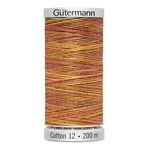 Gutermann Sulky Cotton 12, #4004 VARIEGATED BURNT ORANGE, 200m Spool Embroidery Thread