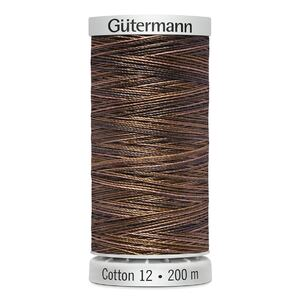 Gutermann Sulky Cotton 12, Colour 4011, VARIEGATED BROWNS, 200m Spool Embroidery Thread