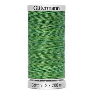Gutermann Sulky Cotton 12, Colour 4018, VARIEGATED GREENS, 200m Spool Embroidery Thread