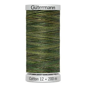 Gutermann Sulky Cotton 12, Colour 4019, VARIEGATED GREENS, 200m Spool Embroidery Thread