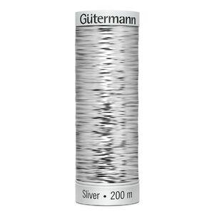 Gutermann Sulky Metallic Sliver Thread, #8001 SILVER, 200 Metre Spool (220yds)