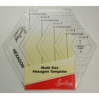 "Quilt Hexagon Ruler, Multi Size Hexagon Template, 1 1/2"" to 5 1/2"" by Sew Easy"