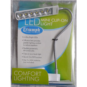 Triumph Mini LED Clip On Light, 6 Ultra Bright LED's, Difusion Lens, White Body