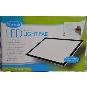 Triumph Led Light Pad A2 White, 568mm x 370mm x 8mm, Adjustable Illumination