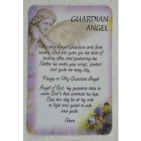 GUARDIAN ANGEL Laminated Prayer Card, 54 x 82mm