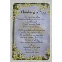 THINKING OF YOU Laminated Prayer Card, 54 x 82mm