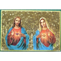 Sacred Hearts, Jesus and Mary, Gold Foiled Embossed Wood Plaque, Crafted In Italy, Beautiful Item