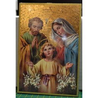 Holy Family, Gold Foiled Embossed Wood Plaque, Crafted In Italy, Beautiful Item