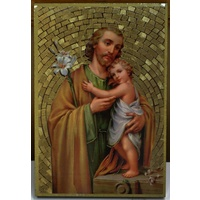 Saint Joseph, Gold Foiled Embossed Wood Plaque, Crafted In Italy, Beautiful Item