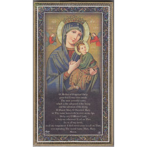 Gold Foiled Wood Prayer Plaque, OUR LADY PERPETUAL HELP, Crafted In Italy