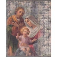 Holy Family, Vintage Look Wood Plaque, Crafted In Italy, 235mm x 190mm