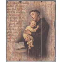 St. Anthony, Vintage Look Wood Plaque, Crafted In Italy, 235mm x 190mm