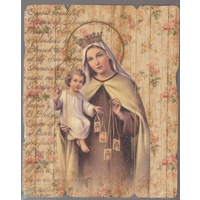 Our Lady Of Mt. Carmel, Vintage Look Wood Plaque, Crafted In Italy, 235mm x 190mm