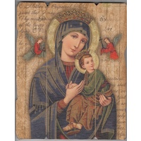 Our Lady Of Perpetual Help, Vintage Look Wood Plaque, Crafted In Italy, 235mm x 190mm