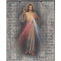 Divine Mercy, Vintage Look Wood Plaque, Crafted In Italy, 235mm x 190mm