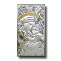 Sterling Silver Lippi Plaque, 150 x 80mm, MOTHER & CHILD, Certificate Guarantee