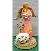 Christening Angel with Baby Boy Statue, On Your Christening, 115 x 67mm, Beautiful Gift Item