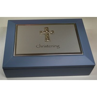 Christening Memories Box, Blue, 180 x 130 x 50mm, Great Gift Idea
